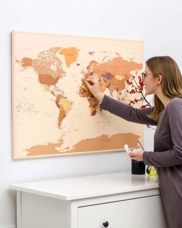 Braune-TripMapworld-Weltkarte-mit-Stecknadeln