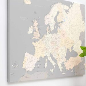 Grau-Cremefarben-Europa-Pinnwand-Karte