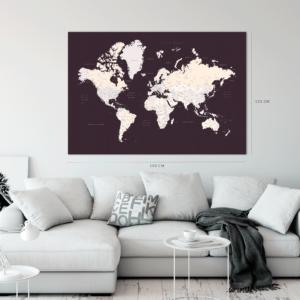 Groß-Weltkarte-Leinwandbild-XXL-Dunkelbraun