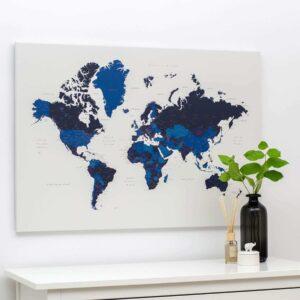Pinnwand-Welt-Reisekarte-mit-Stecknadeln-Marineblau