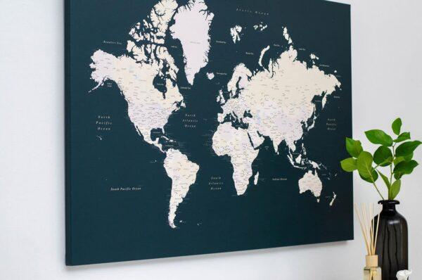 Pinnwand-Weltkarte-Dunkelgrün