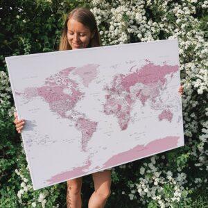 Pinnwand-Weltkarten-rosa