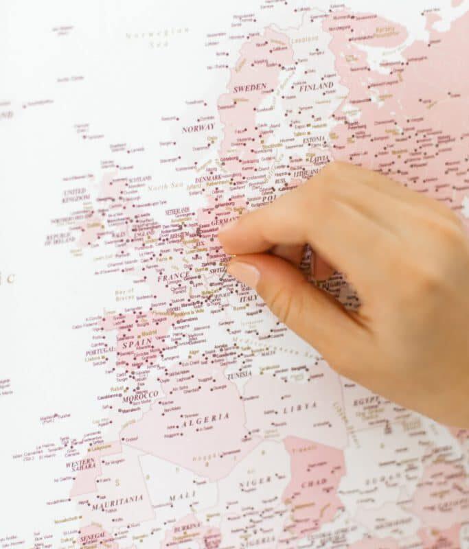 Rosa-Detaillierte-Karte-auf-Leinwand
