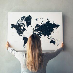 Schwarzweiße-Pinnwand-Weltkarten
