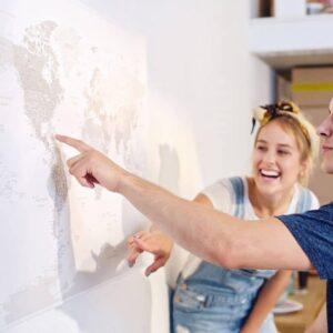 Wand-Welt-Pinnwand-Karte-Grau-Detailliert