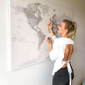 Wand-Weltkarte-Pinnwand-Grau-Weiß-mit-pins