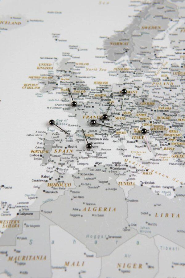 Welt Pinnwand Karte – Grau