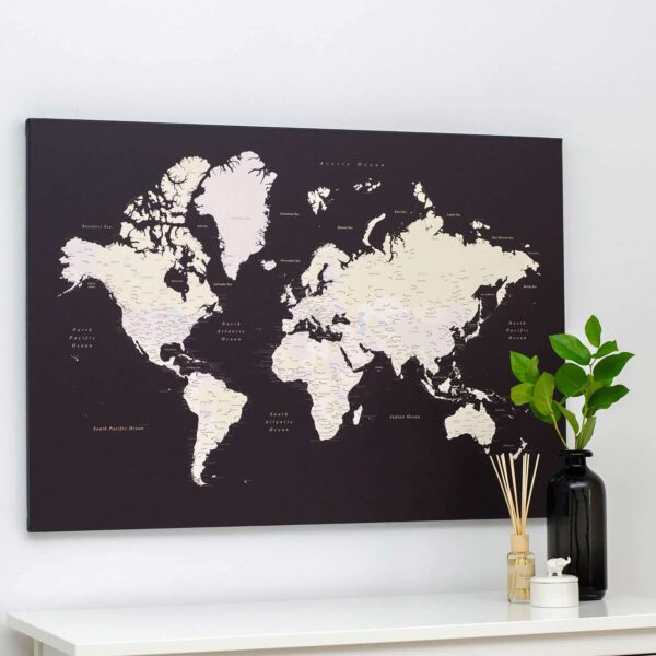Welt-Pinnwand-Karte-Dunkelbraun