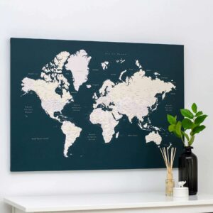 Welt-Pinnwand-Karte-Dunkelgrün