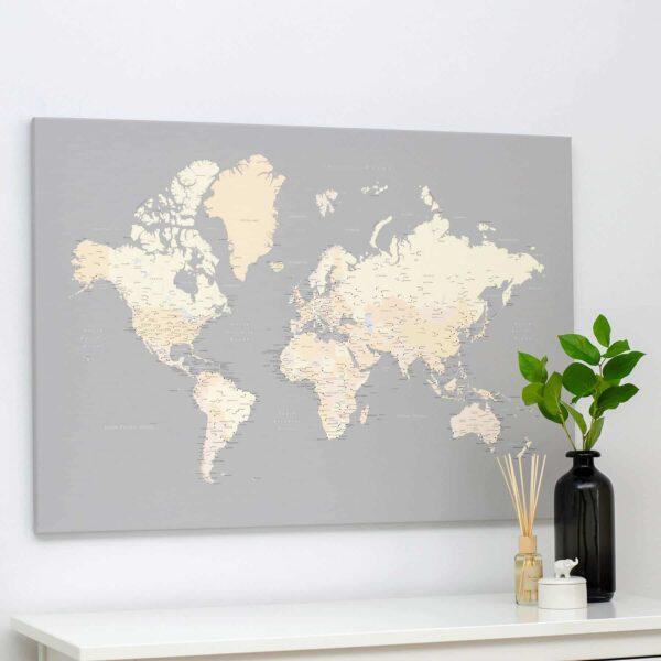 Welt-Pinnwand-Karte-Grau-Cremefarben