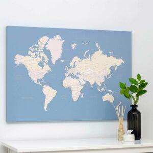 Welt-Pinnwand-Karte-Hellblau