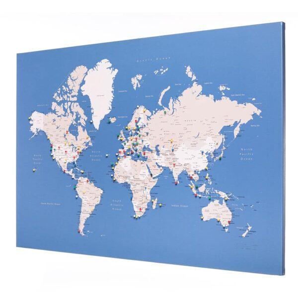 Welt-Pinnwand-Karte-zum-pinnen-Blau