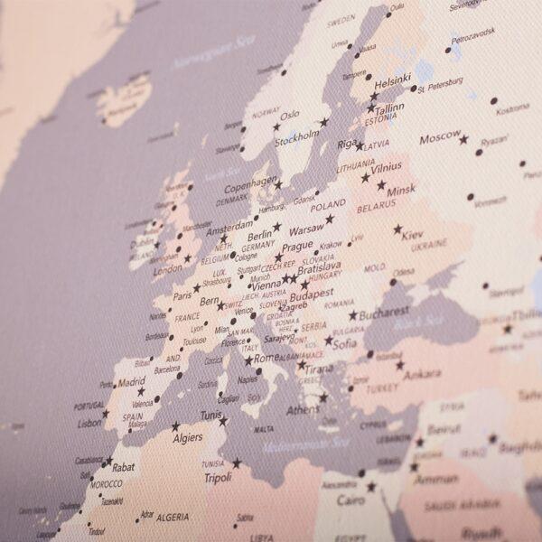 Weltkarte-Leinwandbild-XXL-grau-cremefarben
