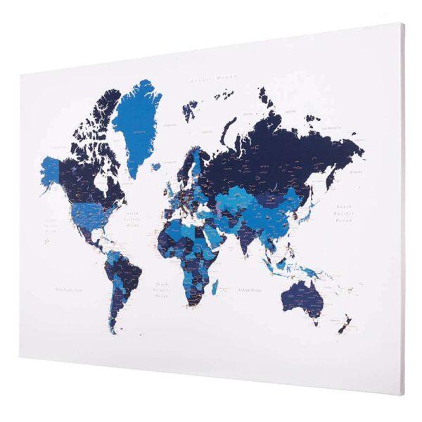 Weltkarte-Leinwandkunst-mit-Stecknadeln-Tripmap-Blau