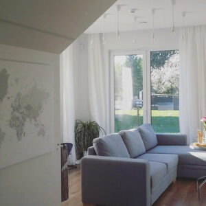 grey world map canvas living room