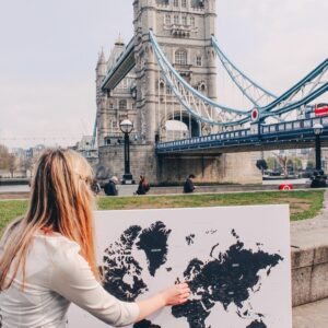 mittel-Schwarzweiße Weltkarte-Pinnwand-Leinwand-london