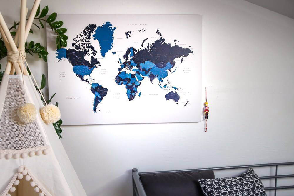 Navy blue map on canvas tripmap