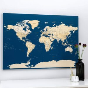 Welt Pinnwand Karte – Dunkelblau (Detailliert)