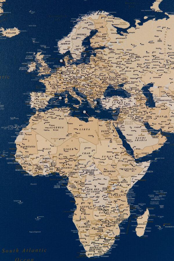 Welt Pinnwand Karte Dunkelblau