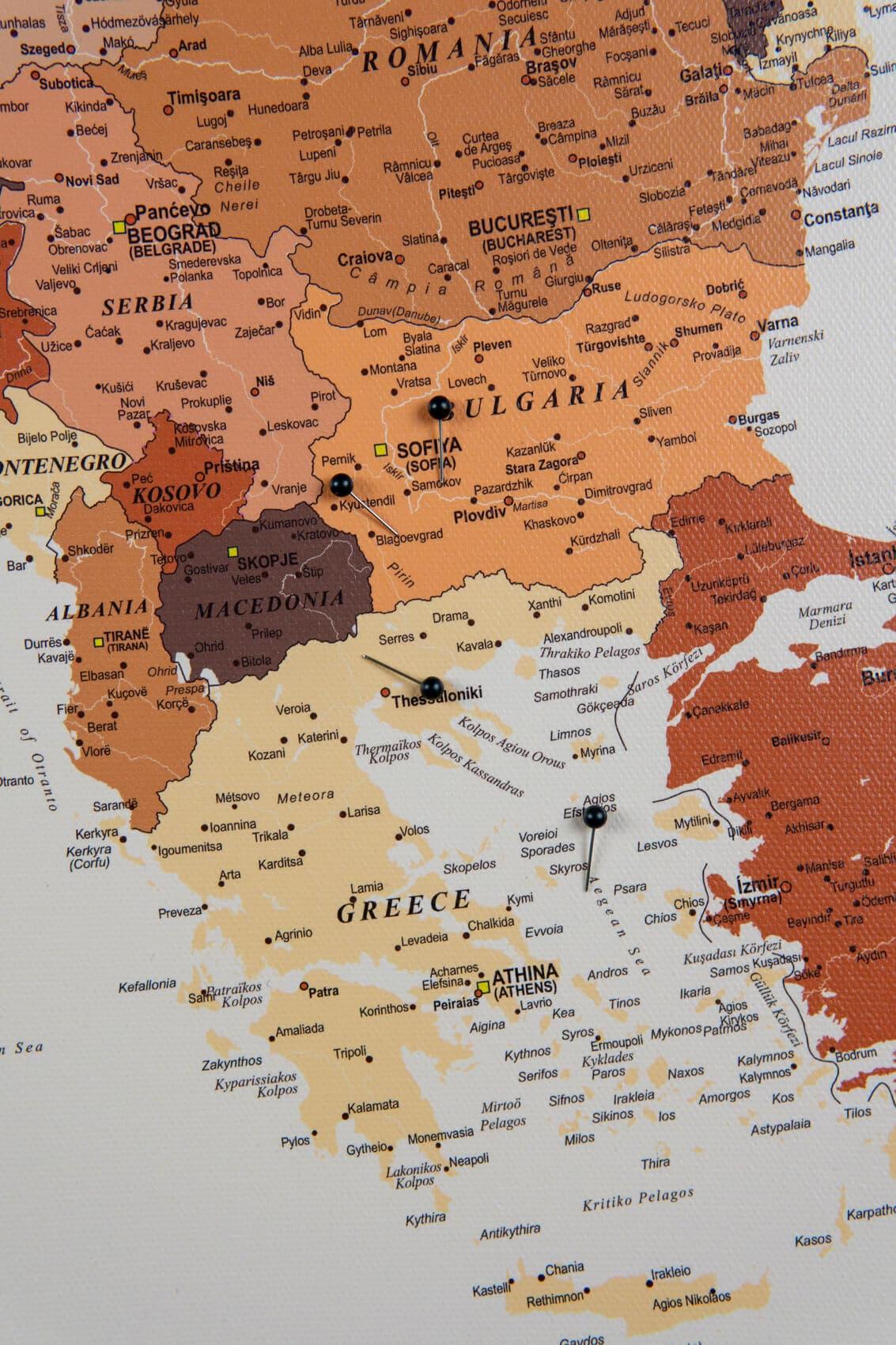 Europa Pinnwand Karte Braun Detailliert Tripmapworld De