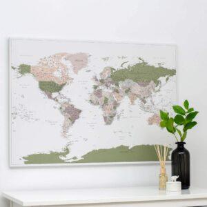 Welt-Pinnwand-Karte-Grün-Lila-Detailliert