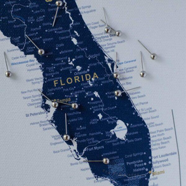 Karte-mit-Stecknadeln-Marineblau-Pinnwand-USA