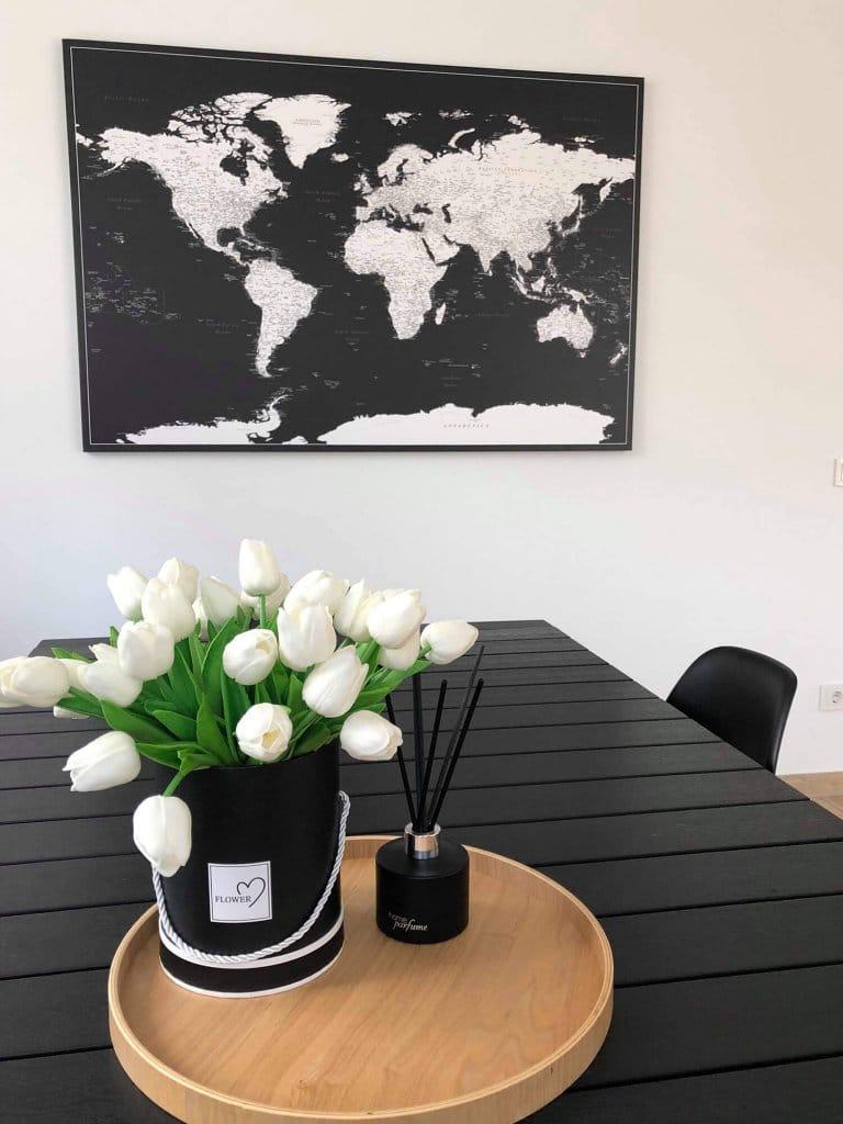 Modernes-Kork-WeltKarte-Pinnwand-Wand-Schwarz-Weiss