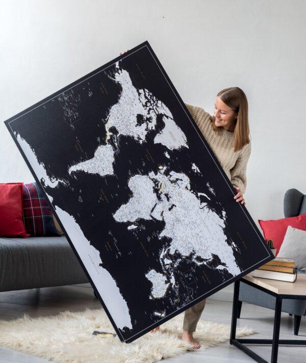 Pinnwand Weltkarte Modernes Schwarz Detailliert tripmapworld