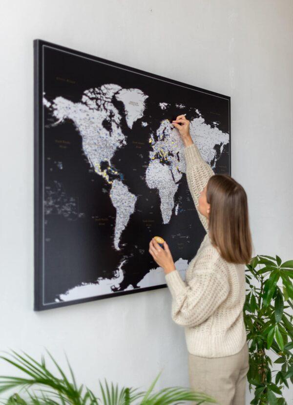 Pinnwand Weltkarte Modernes Schwarz Detailliert zum pinnen
