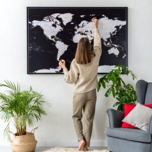Pinnwand Weltkarte Modernes Schwarz Detailliertauf leinwand