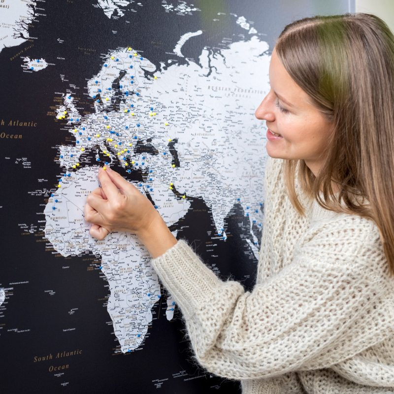 Pinnwand Weltkarte Modernes Schwarz Detailliert