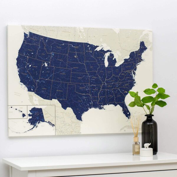 USA-Pinnwand-Karte-Marineblau-Detailliert