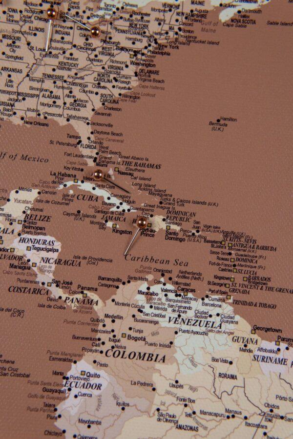 Welt Pinnwand Karte – Braun Beige