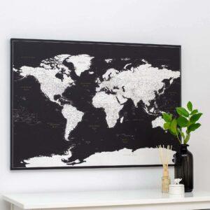 Welt-Pinnwand-Karte-Modernes-Schwarz