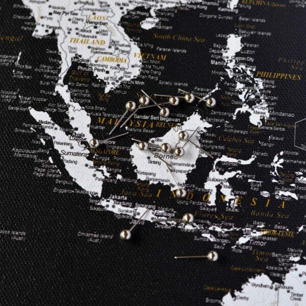 Welt-Pinnwand Karte-Modernes-Schwarz-Detailliert