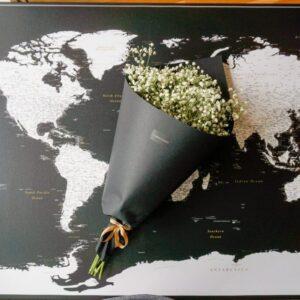 Welt-Pinnwand Karte-Modernes-Schwarz-weiss
