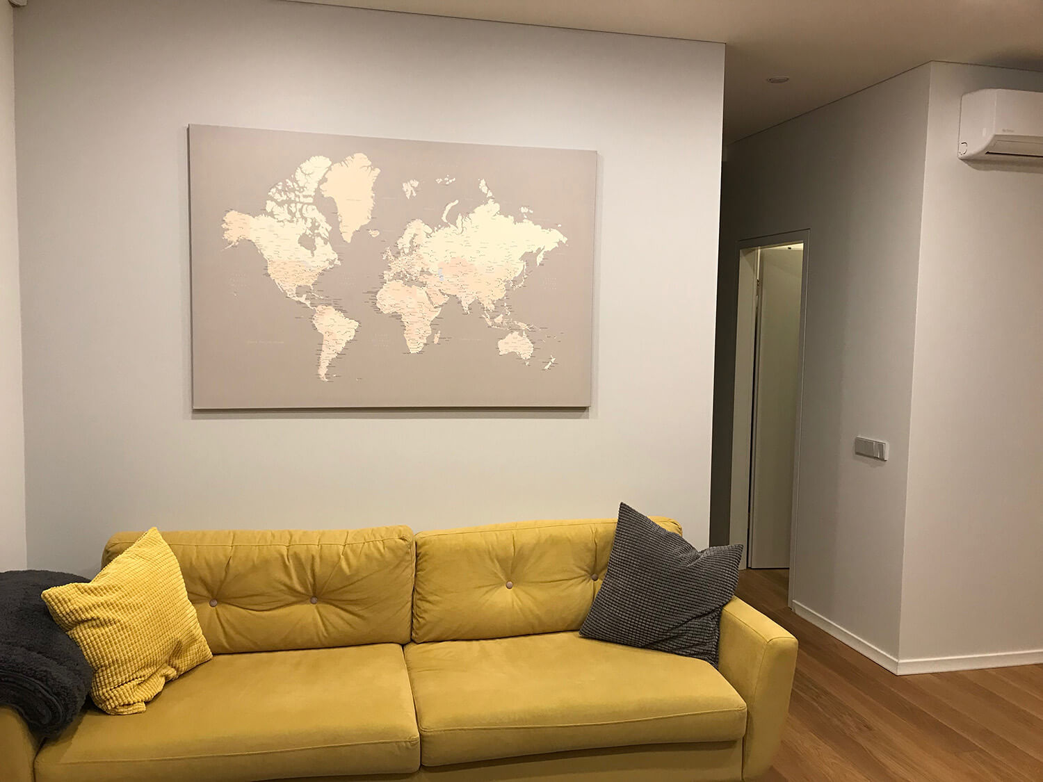 world map interior decor grey