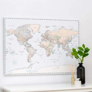 Welt-Pinnwand-Karte-Leinwand-retro