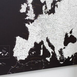 Schwarz-Europa-Pinnwand-Karte