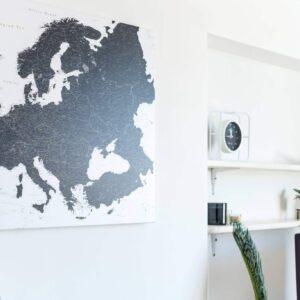Schwarz-weiß-Europa-karte-Pinnwand-leinwand