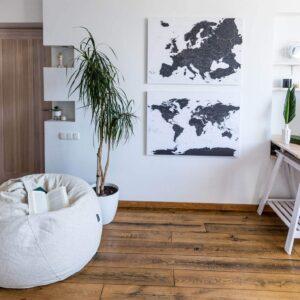 Schwarzweiß-Detailliert-Europa-welt-karten-Pinnwand