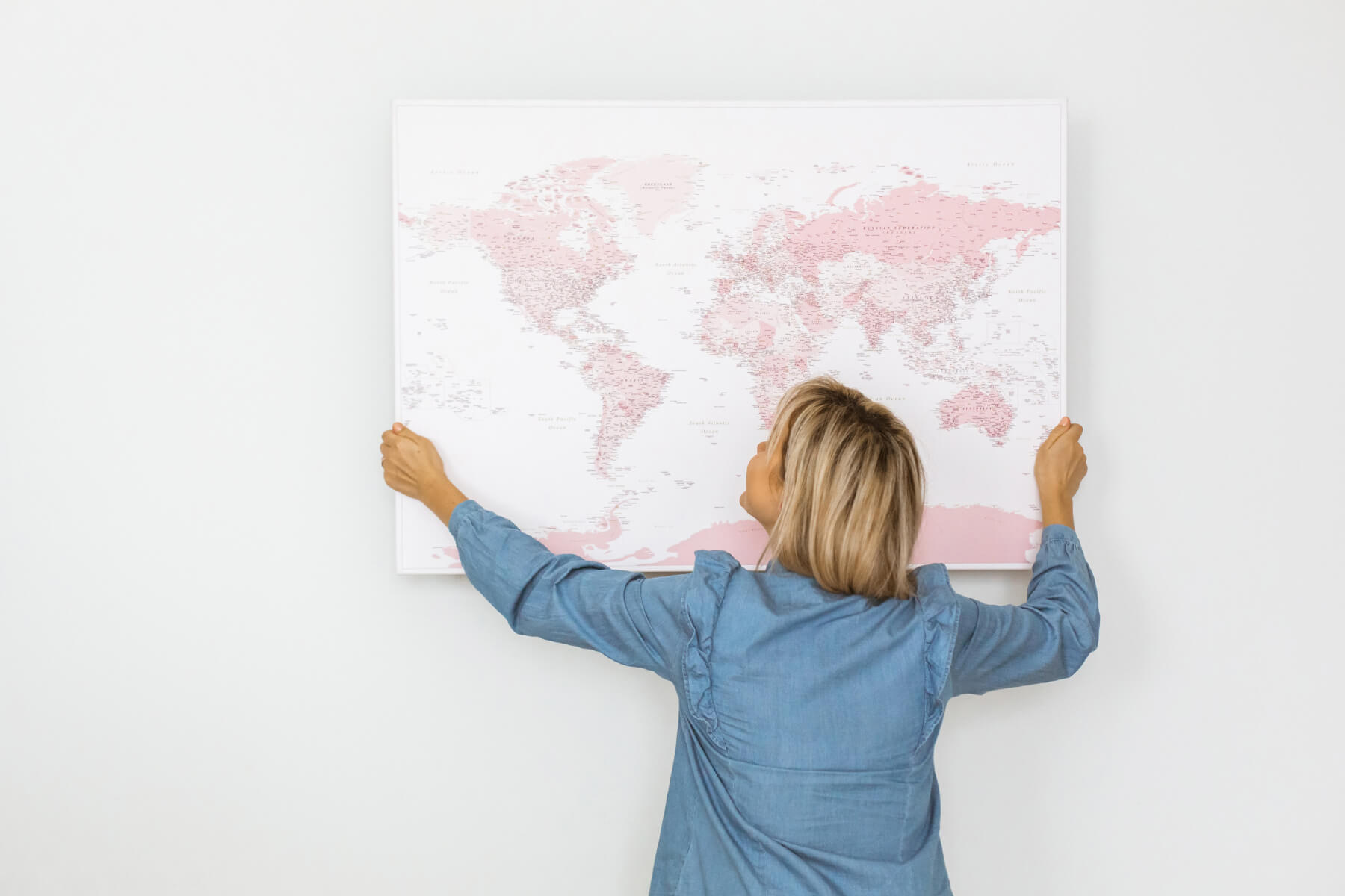 canvas world map pink push pin