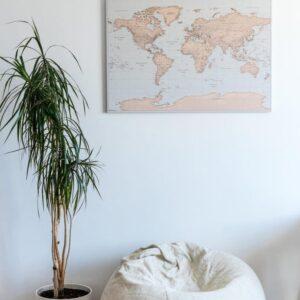 Kunst-Wand-Welt-Karte-vintage-hellblau