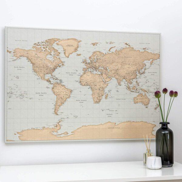 Pinnwand Weltkarte – Vintage hellblau braun (Detailliert)