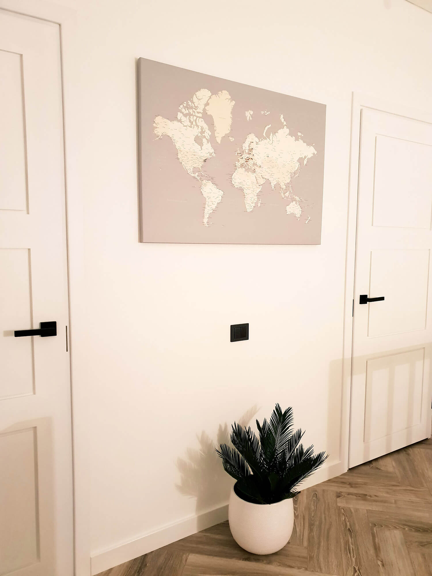 large world map with push pins grey color