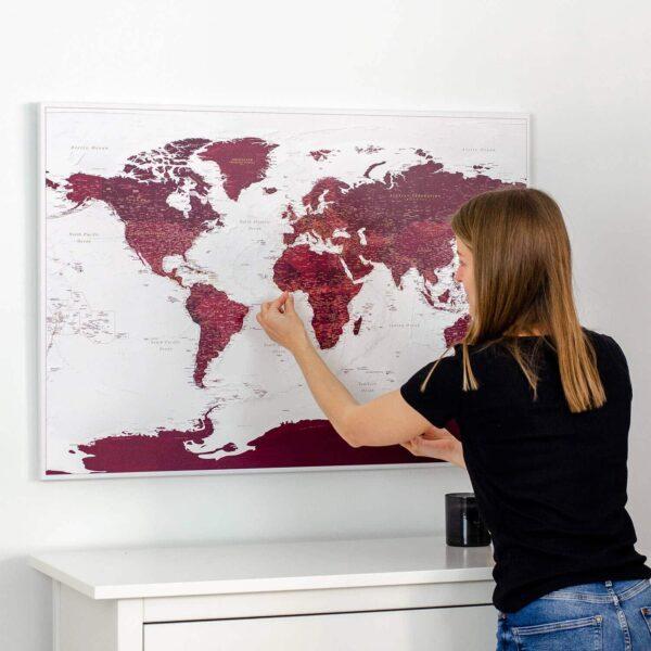 Pinnwand-Weltkarten-Burgunderrot