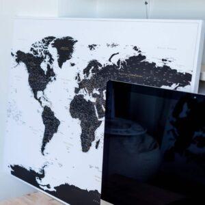 Leinwand-Weltkarte-Pinnwand-Zum-Pinnen-Schwarz-und-Weiß