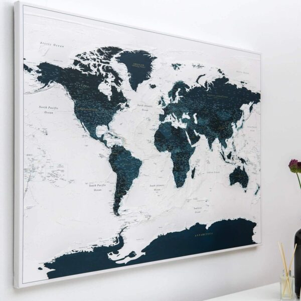 Pinnwand Weltkarte – Meerblau