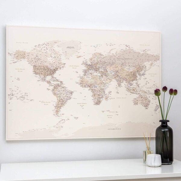 Pinnwand Weltkarte – Wüstensand