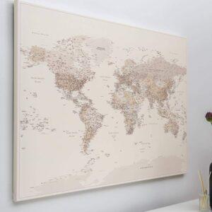 Pinnwand Weltkarte – Wüstensand (Detailliert)